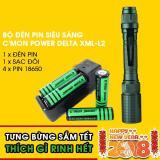 Giá Bán Bộ 1 Đen Pin Sieu Sang C Mon Power Delta Xml L2 4 Pin 18650 1 Bộ Sạc Đoi Xanh La Mới