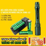 Mua Bộ 1 Đen Pin Sieu Sang C Mon Power Delta Xml L2 4 Pin 18650 1 Bộ Sạc Đoi Xanh La
