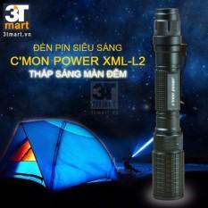 Bộ 1 đèn pin C'mon Power DELTA L2 LED 10W + 4 pin 18650 + 1 bộ sạc đôi (xanh lá)