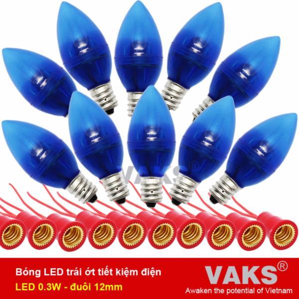 [HCM]BỘ ĐÈN LED 10 TRÁI ỚT + 10 ĐUÔI VẶN TIẾT KIỆM ĐIỆN (0.3W) ĐUÔI VẶN E12-220V có 5 màu.