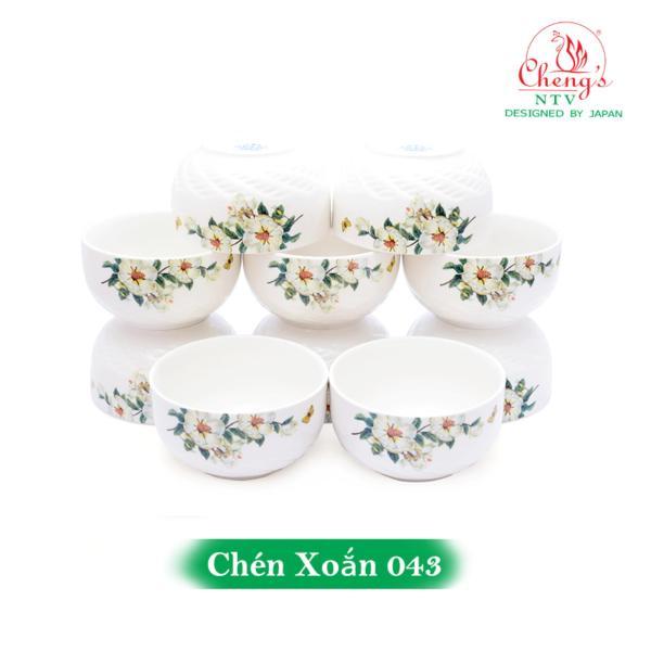 Bộ 10 chén sứ xoắn hoa lan xanh