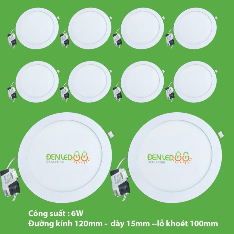 Bộ 10 đèn led âm trần tròn 6w ánh sáng trắng