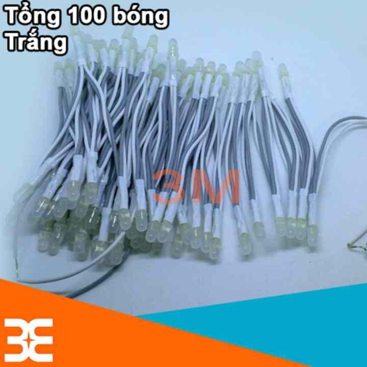 Bộ 100 bóng led liền dây 5VDC phi 5 sáng trắng siêu đẹp ( Cuộn dài 6m )