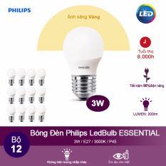 Bán Bộ 12 Bong Đen Philips Led Ess Ledbulb 3W 3000K Đuoi E27 230V P45 Anh Sang Vang Philips Rẻ