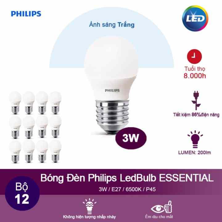 (Bộ 12) Bóng đèn Philips LED ESS LEDBulb 3W 6500K đuôi E27 230V P45 - Ánh sáng trắng
