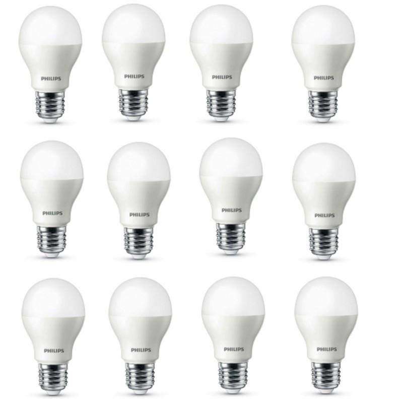 Bộ 12 Bóng đèn Philips LED ESS LEDBulb 5W đuôi E27 230V A60 ánh sáng (Trắng/Vàng)