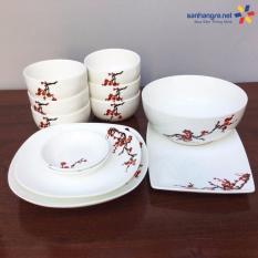 Giá Bán Bộ 12 Mon To Bat Đĩa Sứ Ceramic Hoa Đao Trắng Nguyên Ceramic
