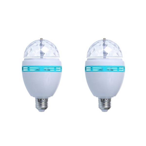 Bộ 2 bóng đèn búp xoay đa màu sắc LED (Trắng)