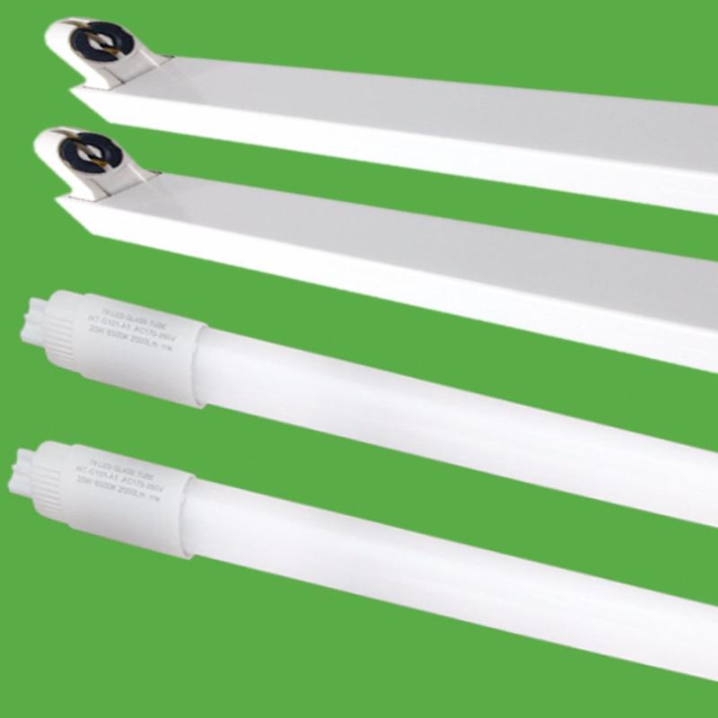 Bộ 2 Bóng đèn led Tuýp thủy tinh 11W 0.6m,  (ánh sáng trắng) + 2 Máng đèn led tuýp 0.6m