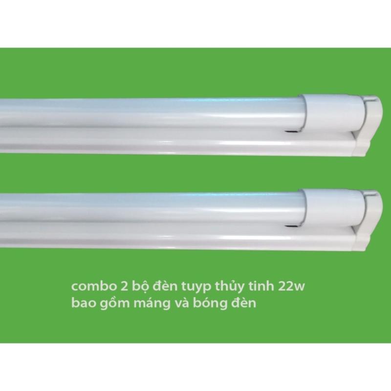Bộ 2 Bóng đèn led Tuýp thủy tinh 22W 1,2m,  (ánh sáng trắng) + 2 Máng đèn led tuýp 1.2m