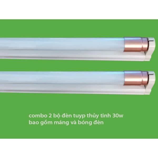 Bộ 2 Bóng đèn led Tuýp thủy tinh 30W 1,2m,  (ánh sáng trắng)+ 2 Máng đèn led tuýp 1.2m