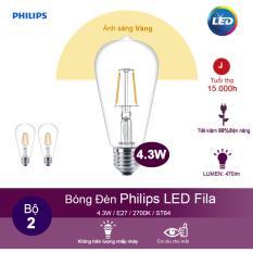 Mua Bộ 2 Bong Đen Philips Led Fila 4 3W 2700K Đuoi E27 St64 Anh Sang Vang Philips Nguyên