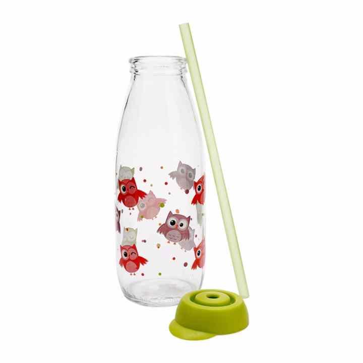 Bộ 2 Chai Đựng Sữa Tươi Thủy Tinh Kèm Ống Hút Herevin 111714 500ml (Chim Cú, Khủng Long)