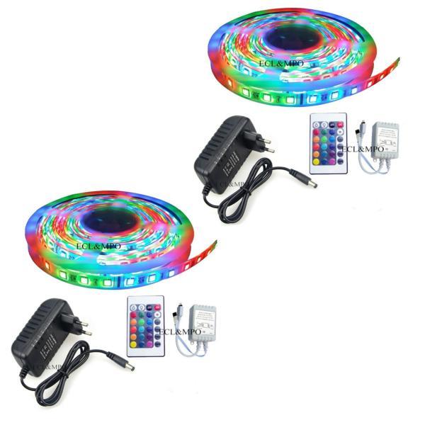 Bộ 2 cuộn đèn Led dây dán 5m đổi nhiều màu (RGB) có remote điều khiển