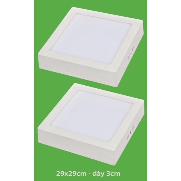 Bộ 2 đèn led nổi ốp trần 24w vuông  ánh sáng trắng