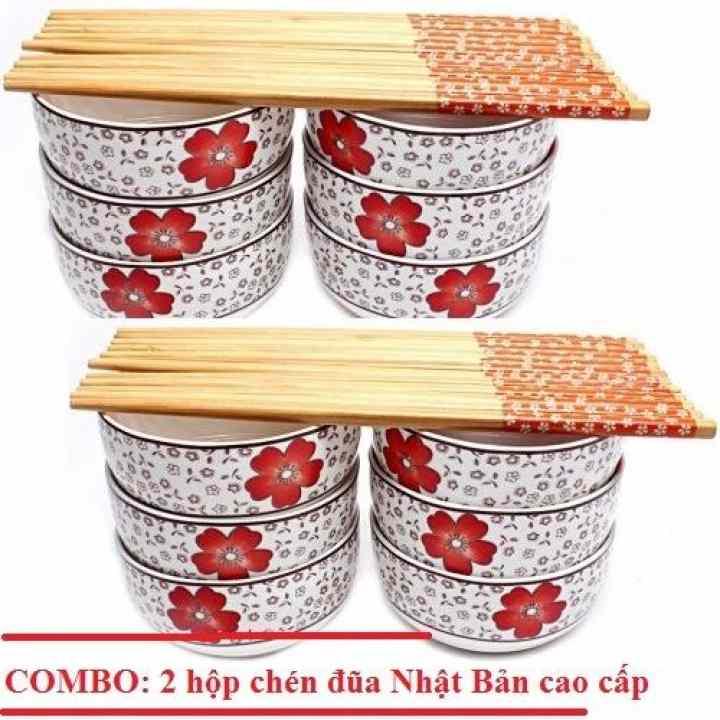 Bộ 2 Hộp chén đũa Nhật Bản Camellia (12 Chén, 12 đôi đũa)