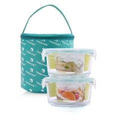 Giá Bán Bộ 2 Hộp Thuỷ Tinh Hinh Tron 420Ml Tui Giữ Nhiệt Happy Cook Glass Jcg 02R Happy Cook Nguyên