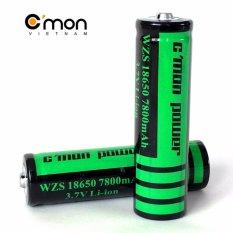 Hình ảnh Bộ 2 pin sạc li-ion 18650 C'MON POWER 7800mAh 3.7V (Dùng cho đèn pin - xanh lá)