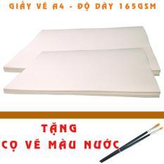 Mua Bộ 26 tờ giấy vẽ chuyên dụng A4 dày 165gsm + Tặng 3 bút cọ vẽ màu nước