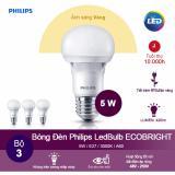 Bộ 3 Bong Đen Philips Ecobright Ledbulb 5W 3000K Đuoi E27 A60 Anh Sang Vang Philips Chiết Khấu