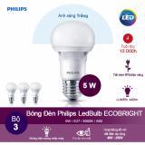 Bán Bộ 3 Bong Đen Philips Ecobright Ledbulb 5W 6500K Đuoi E27 A60 Anh Sang Trắng Nguyên