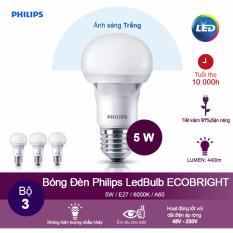 Bán Bộ 3 Bong Đen Philips Ecobright Ledbulb 5W 6500K Đuoi E27 A60 Anh Sang Trắng Có Thương Hiệu