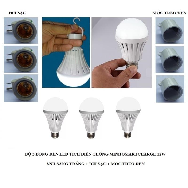 Bộ 3 bóng đèn tích điện thông minh SMARTCHARGE 12W (Ánh sáng trắng) + Đui sạc + Móc treo đèn