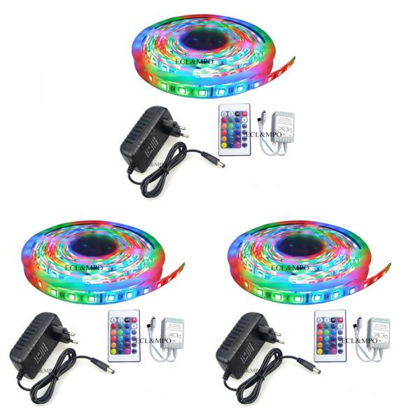 Bộ 3 cuộn đèn Led dây dán 5m đổi nhiều màu (RGB) có remote điều khiển