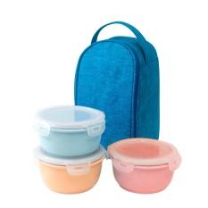 Bộ 3 Hộp Cơm Sứ Mau Pastel Dong Hwa B1505 01S3 Blue Nguyên