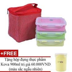 Bán Mua Bộ 3 Hộp Đựng Cơm Kem Tui Giữ Nhiệt Kova Set Lunch Box G P Y N750Ml Tặng Kem Hũ Đựng Thực Phẩm 900Ml Trong Vietnam