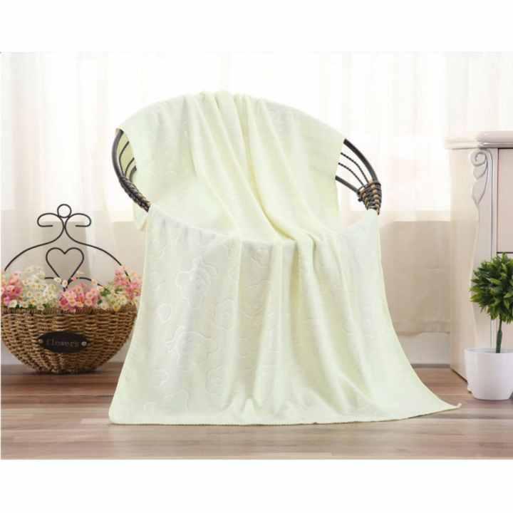 Bộ 3 khăn tắm, khăn mặt, khăn lau tóc cao cấp loại in chìm (vàng nhạt) - (BQ271-VANGNHAT)