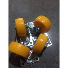 Hình ảnh Bộ 4 Bánh xe đẩy nhựa Siêu Thanh 70mm 2 Vòng Bi- Không Khóa Phanh
