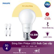 Giá Bán Bộ 4 Bong Đen Philips Ledbulb 10 5W 3000K Đuoi E27 230V A60 Anh Sang Vang Philips