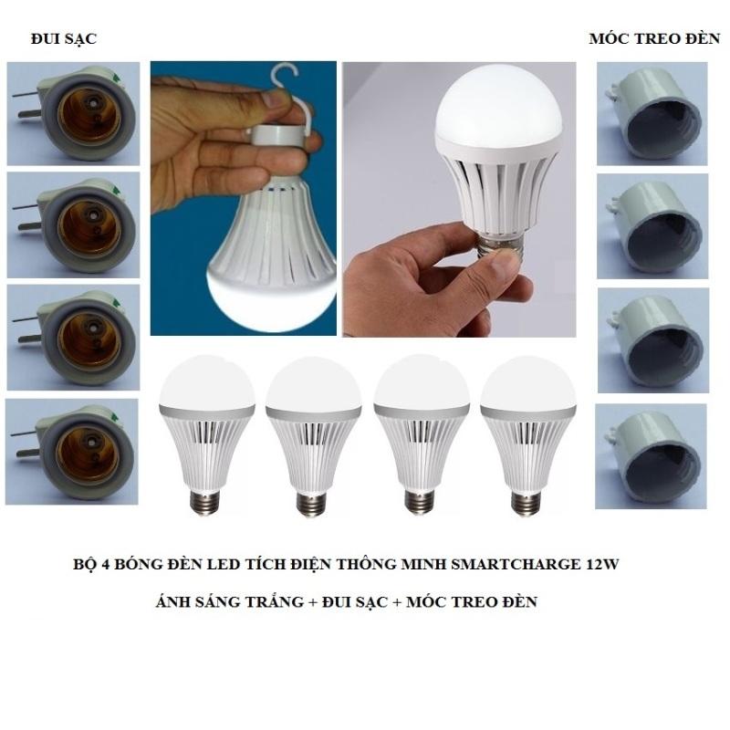 Bộ 4 bóng đèn tích điện thông minh SMARTCHARGE 12W (Ánh sáng trắng) + Đui sạc + Móc treo đèn