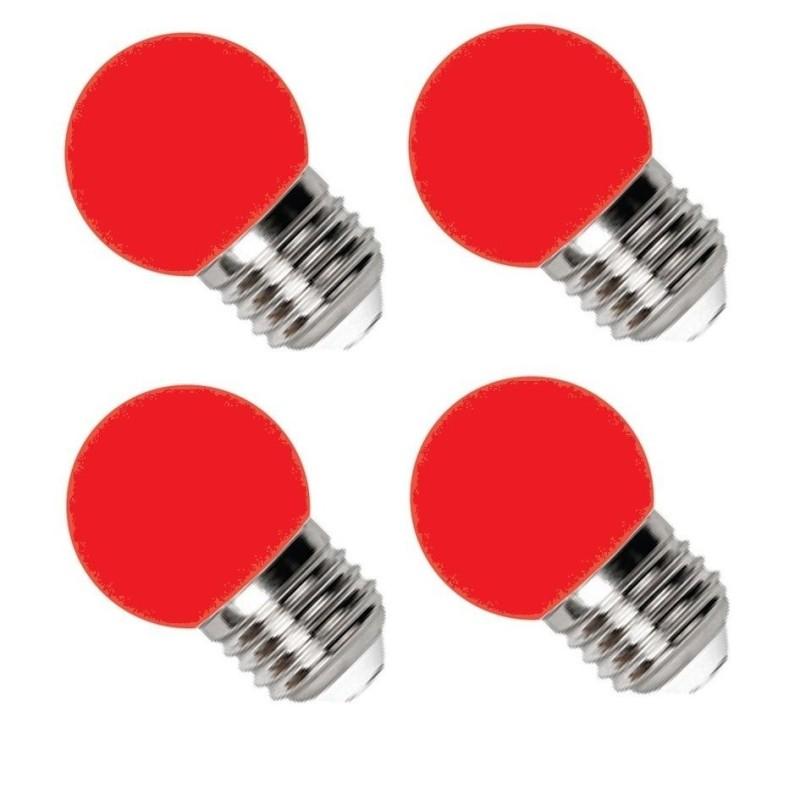 Bộ 4 Đèn LED Bulb Điện Quang 1W E27 Màu đỏ