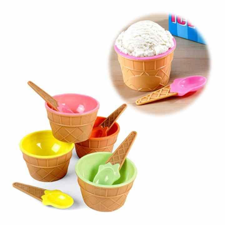 Bộ 4 ly, muỗng ăn kem Tashuan