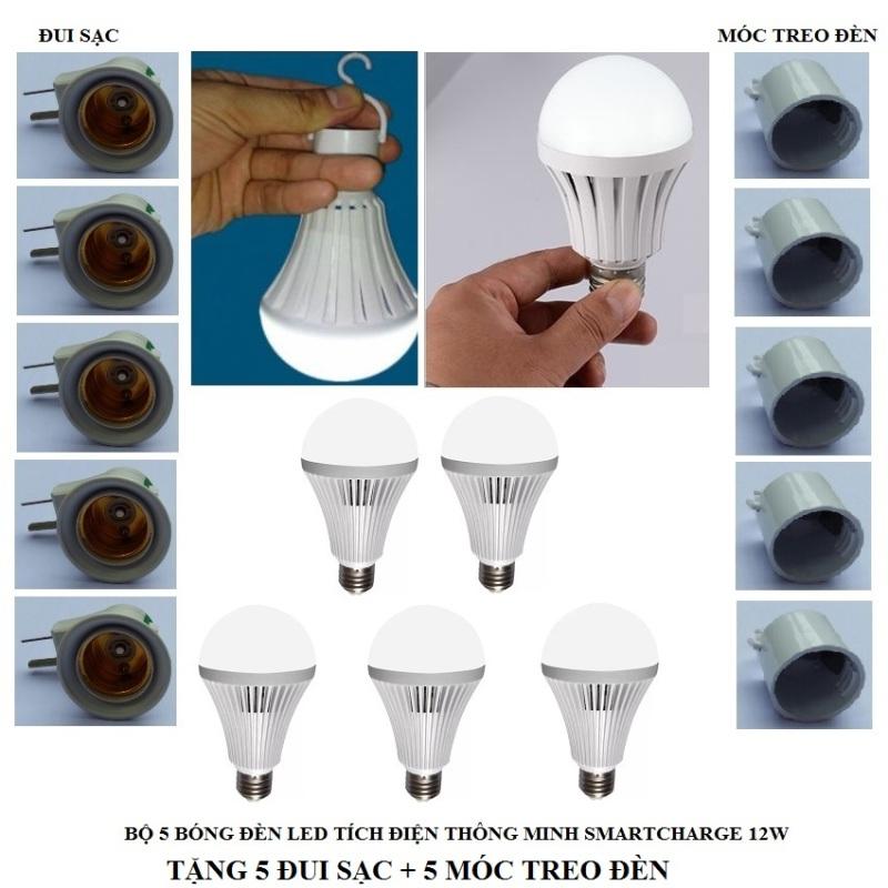 Bộ 5 bóng đèn tích điện thông minh SMARTCHARGE 12W (Ánh sáng trắng) tặng đui sạc + móc treo đèn