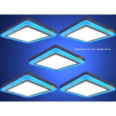 Bộ 5 đèn led nổi ốp trần 24w vuông 2 màu 3 chế độ ánh sáng trắng xanh dương