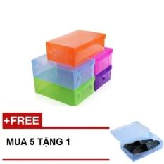 Bộ 5 hộp đựng giày đa năng nhiều tiện ích bằng nhựa trong suốt - Mua 5 tặng 1 - STTT