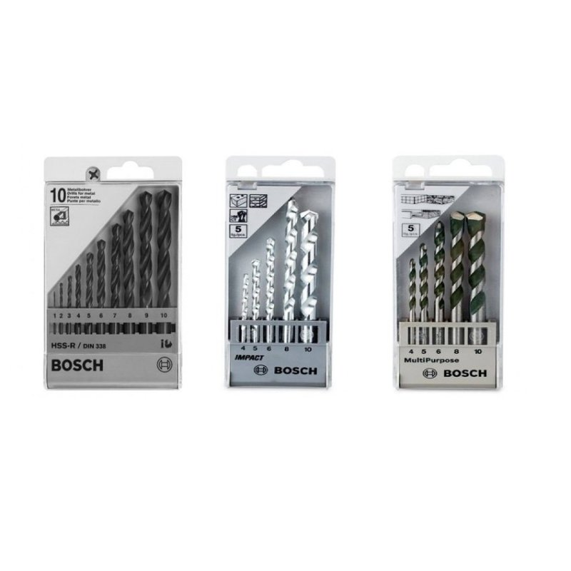 Bộ 5 Mũi khoan tường + 5 mũi khoan đa dụng và 13 mũi khoan sắt HSR Bosch