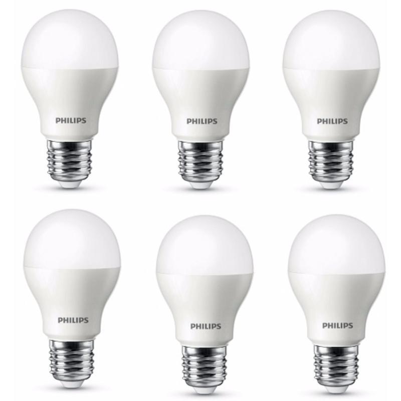 Bộ 6 Bóng đèn Philips LED ESS LEDBulb 5W đuôi E27 230V A60 ánh sáng (Trắng,Vàng)