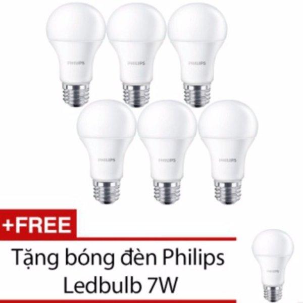 Bộ 6 bóng đèn Philips LED ESS LEDBulb 7W đuôi E27 230V P45 ánh sáng (Trắng,Vàng)+Tặng 1 bóng đèn Philips LED ESS LEDBulb 7W