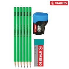 Mua Bộ 6 cây bút chì gỗ STABILO Schwan (xanh lá) kèm gôm, chuốt PC317G-C6S+