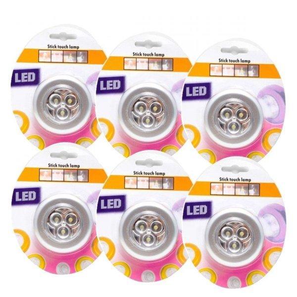 Bán Sỉ 06 Đèn LED Dán Tường - Dán Tủ Quần Áo (Bạc) - Loại 1 - Dùng Pin AAA