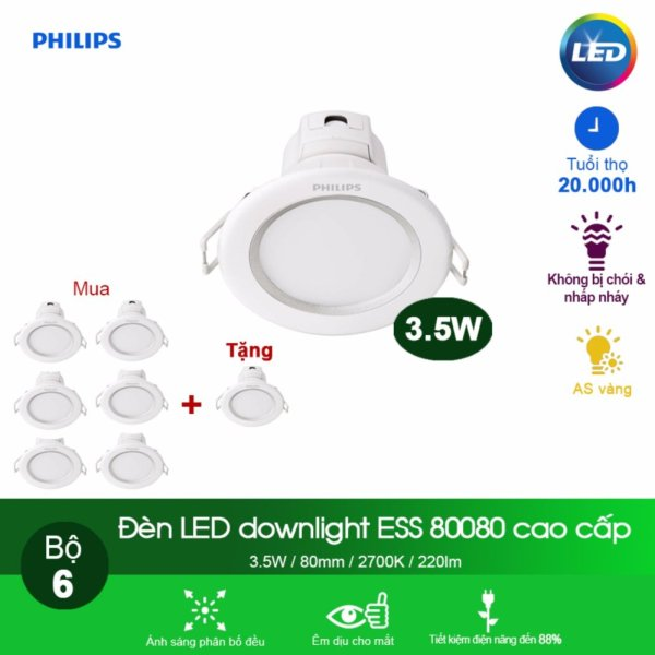 (Mua 6 tặng 1) Đèn Philips LED Downlight âm trần 80080 3.5W - Ánh sáng vàng