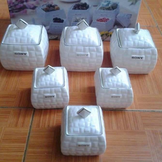 Hình ảnh Bộ 6 hũ đựng gia vị thực phẩm sứ xương có nắp đậy Sony