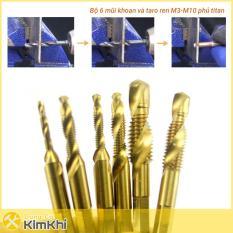 Bộ 6 mũi khoan và taro ren M3-M10 phủ Titanium, tạo ren inox