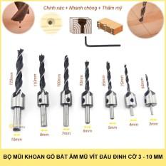 Hình ảnh Bộ 7 mũi khoan gỗ bắt âm mũ vít 3-10mm thép HSS4241 chuôi tròn