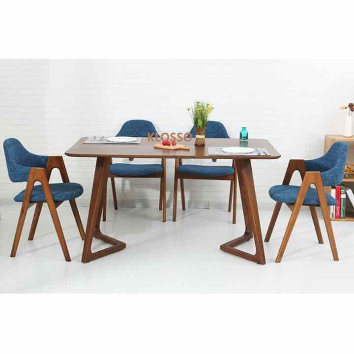 Bộ bàn ăn cao cấp Klosso phong cách Châu Âu KBA017-NXD (Nâu-Xanh)