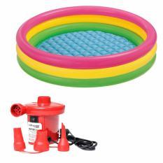 Bộ bể bơi 3 tầng cầu vồng cho trẻ 57422(147cmx33cm) và Bơm điện bơm bể bơi